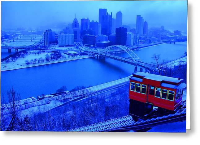 Blue Pittsburgh Greeting Card by Matt Matthews