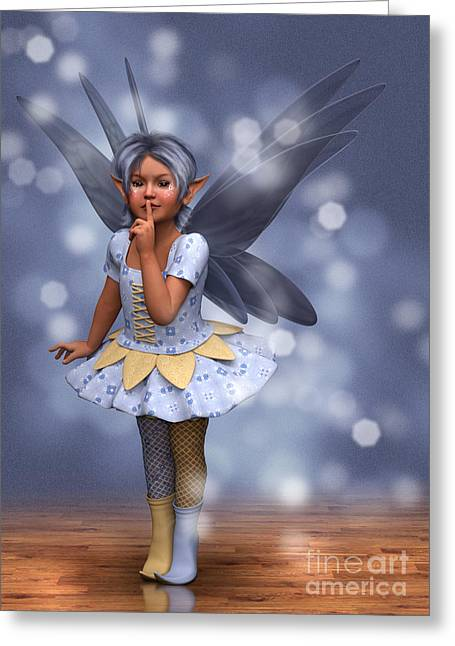 Shushing Greeting Cards - Blue Pixie Greeting Card by Elle Arden Walby