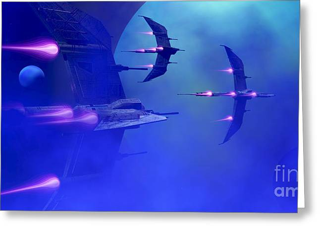 Warp Greeting Cards - Blue Planet and Moons Greeting Card by Corey Ford