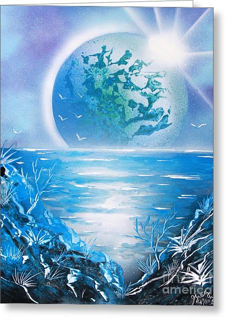 Outer Space Paintings Greeting Cards - Blue Planet Greeting Card by Greg Moores