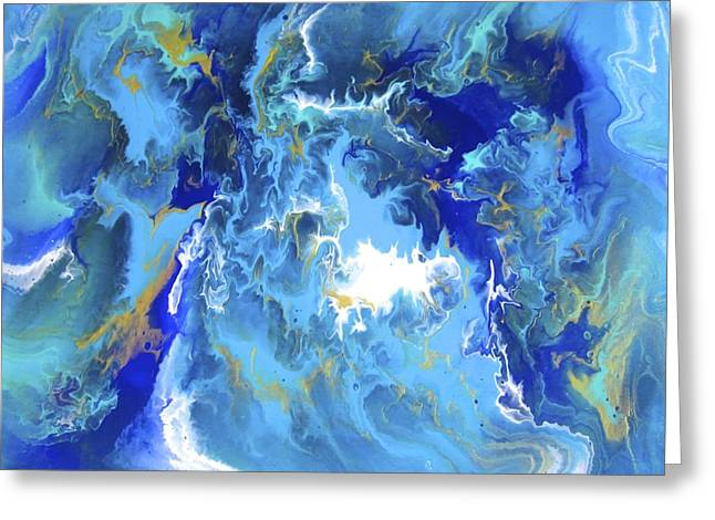 Acrylic Pour Greeting Cards - Blue Planet Greeting Card by Richard Jensen