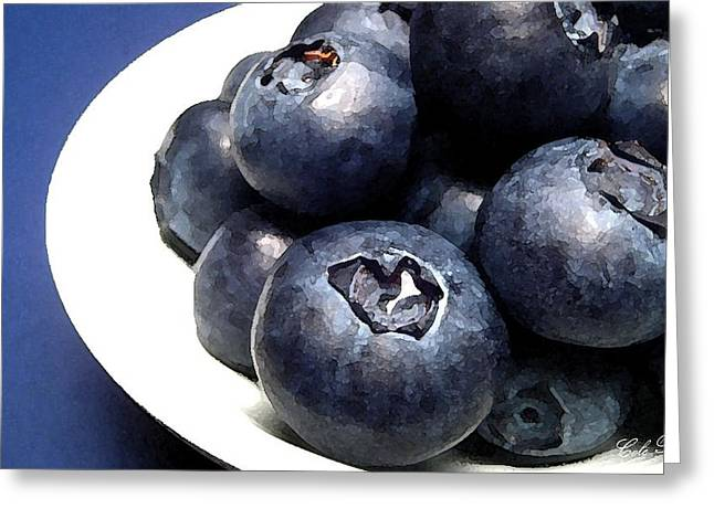 Blueberry Drawings Greeting Cards - Blue Plate Greeting Card by Cole Black
