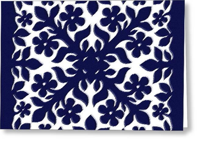 James Temple Greeting Cards - Blue Plumeria Quilt Greeting Card by James Temple