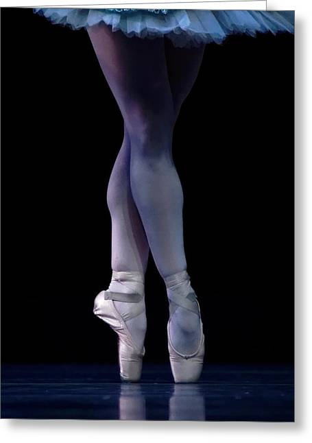Ballet Dancers Photographs Greeting Cards - Blue Pointe Greeting Card by Lone  Dakota Photography