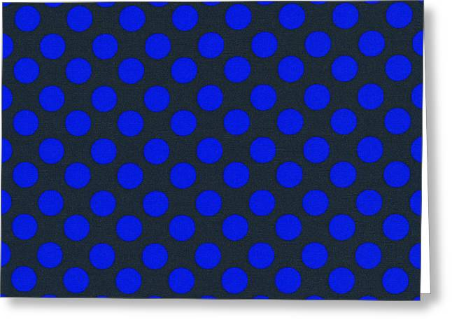 Ornamentation Greeting Cards - Blue Polka Dots On Black Textile Background Greeting Card by Keith Webber Jr