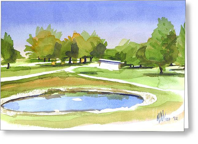 Linked Paintings Greeting Cards - Blue Pond at the A V Country Club Greeting Card by Kip DeVore