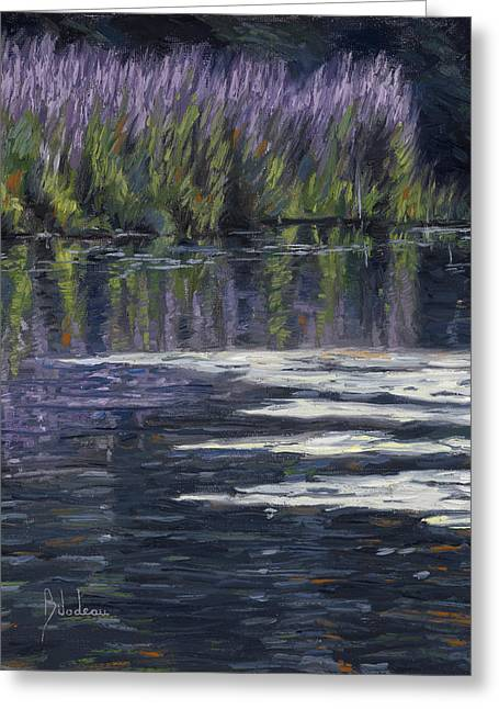 Water Flowers Greeting Cards - Blue Pond Greeting Card by Lucie Bilodeau