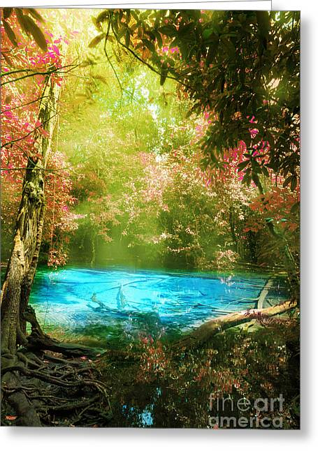 Deep Forest Greeting Cards - Blue Pool Greeting Card by Atiketta Sangasaeng