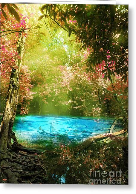 Blue Pool Greeting Card by Atiketta Sangasaeng
