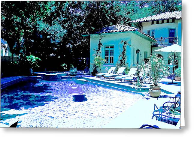 South Beach Framed Prints Greeting Cards - Blue Pool Green House Greeting Card by Diane Phelps