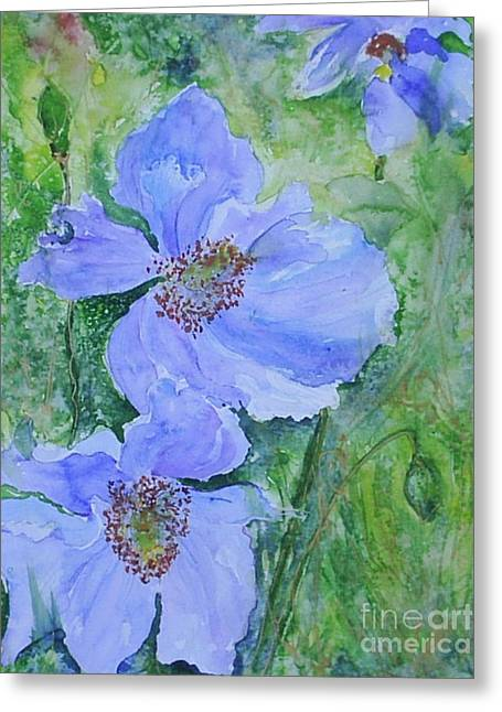 Loose Style Greeting Cards - Blue Poppies Greeting Card by Aisling Kiernan