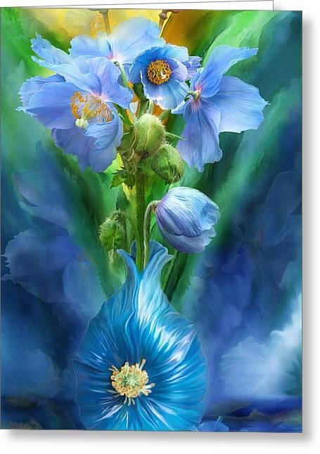 Print Of Poppy Greeting Cards - Blue Poppies In Poppy Vase Greeting Card by Carol Cavalaris