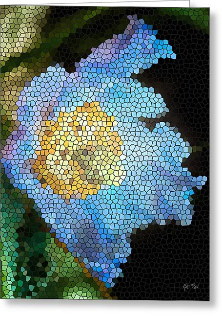 Stamen Digital Art Greeting Cards - Blue poppy stained glass painting Greeting Card by Eti Reid