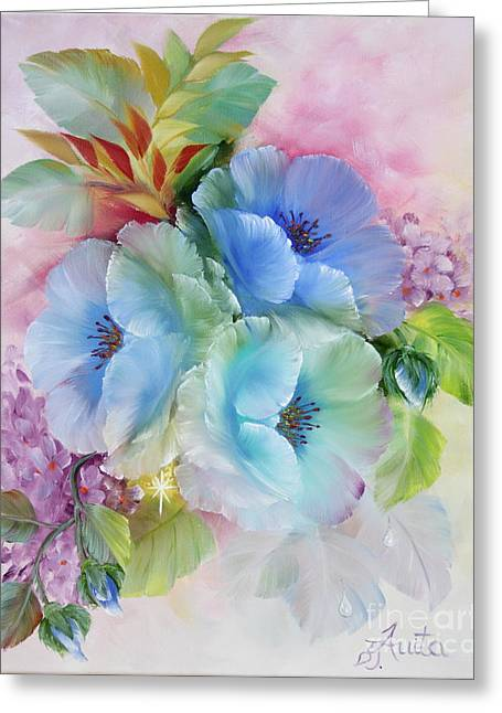 Shower Curtain Greeting Cards - Blue Poppys Greeting Card by  ILONA ANITA TIGGES - GOETZE  ART and Photography