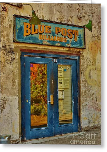 Best Seller Greeting Cards - Blue Post Billiards Greeting Card by Bob Sample