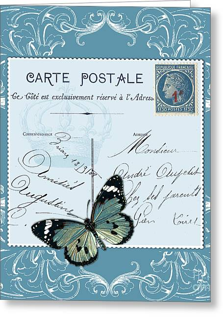 France Greeting Cards - Blue postcard Greeting Card by Marion De Lauzun
