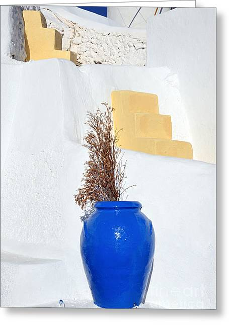Blue Pot In Oia Town Greeting Card by George Atsametakis