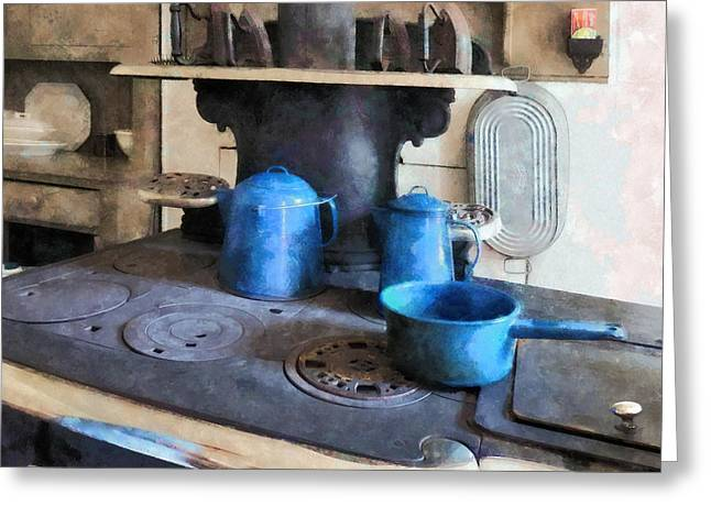 Coffee Greeting Cards - Blue Pots on Stove Greeting Card by Susan Savad