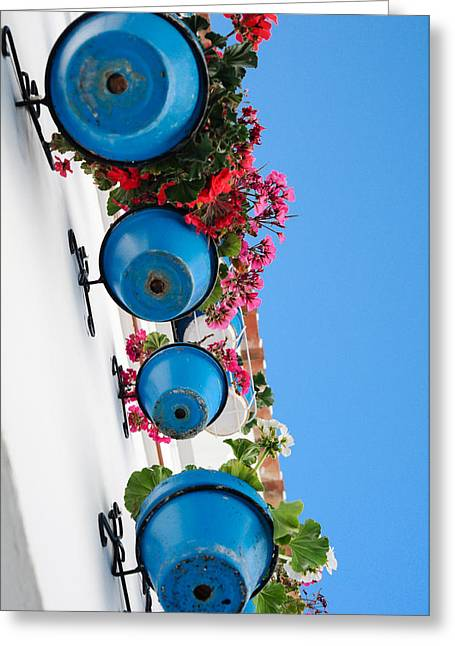 Tetyana Kokhanets Greeting Cards - Blue Pots Greeting Card by Tetyana Kokhanets