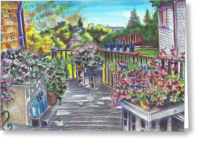 Bright Pastels Greeting Cards - Block Island 1 - Blue Pottery porch Greeting Card by Daniela Johnson