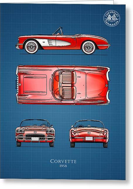 Corvette Greeting Cards - Blue Print Corvette Greeting Card by Mark Rogan