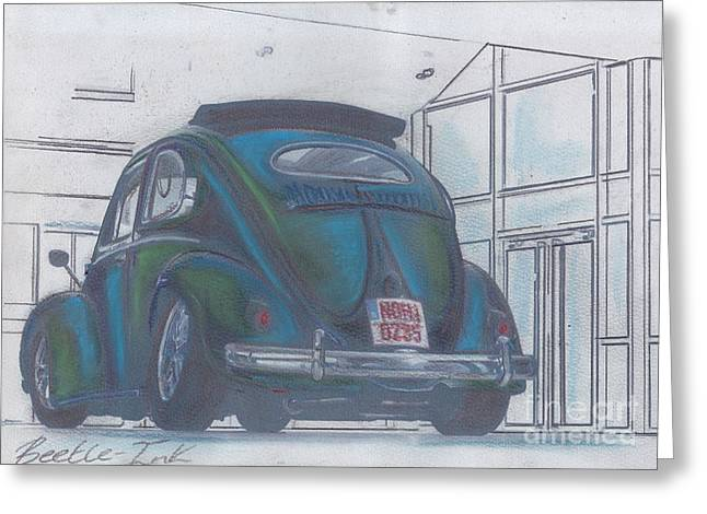 Historic Vehicle Pastels Greeting Cards - Blue print Greeting Card by Sharon Poulton