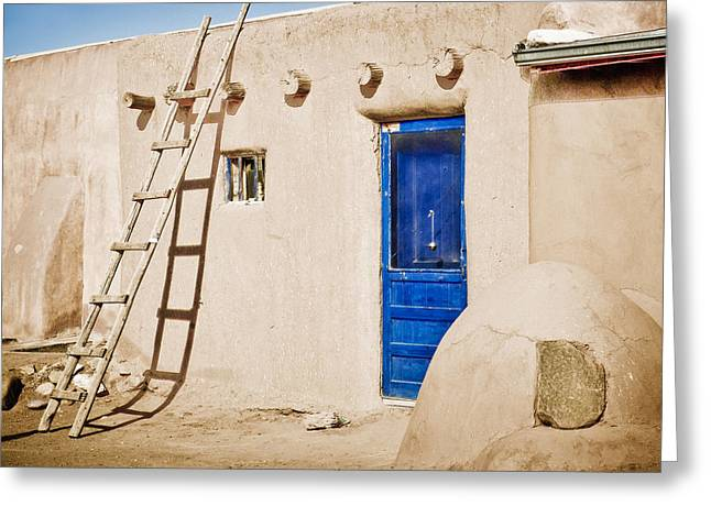 Adobe Greeting Cards - Blue Pueblo Door and Ladder Greeting Card by Marilyn Hunt