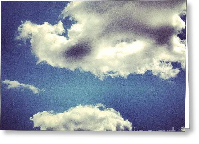 Haze Paintings Greeting Cards - Blue Puffy Clouds Greeting Card by Genevieve Esson