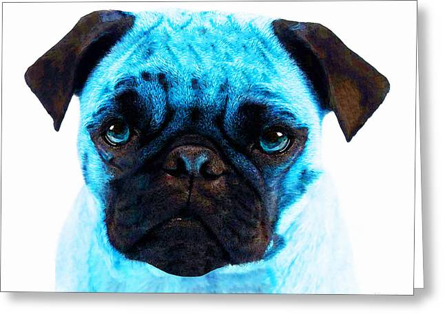 Blue - Pug Pop Art By Sharon Cummings Greeting Card by Sharon Cummings