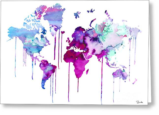 Continent Paintings Greeting Cards - Blue Purple WATERCOLOR MAP Greeting Card by Lyubomir Kanelov