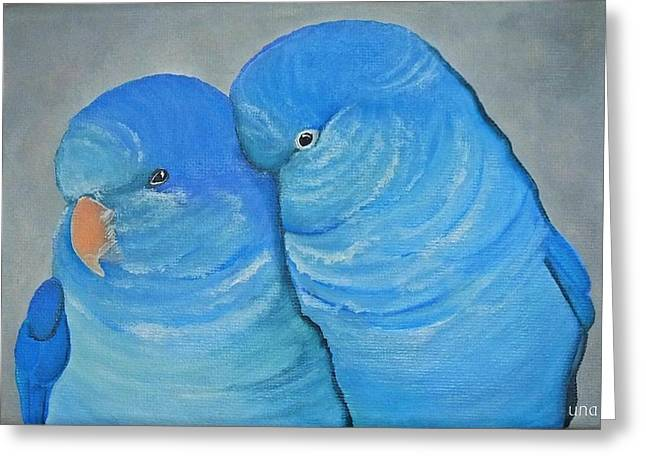 Quaker Paintings Greeting Cards - Blue Quaker Cuddles Greeting Card by Una  Miller