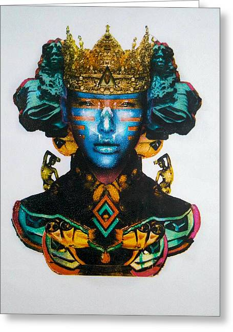 Serigraphy Greeting Cards - Blue Queen Greeting Card by Scarlett Gonzalez