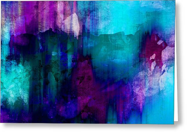 Blue And Purple Abstract Greeting Cards - Blue Rain  abstract art   Greeting Card by Ann Powell