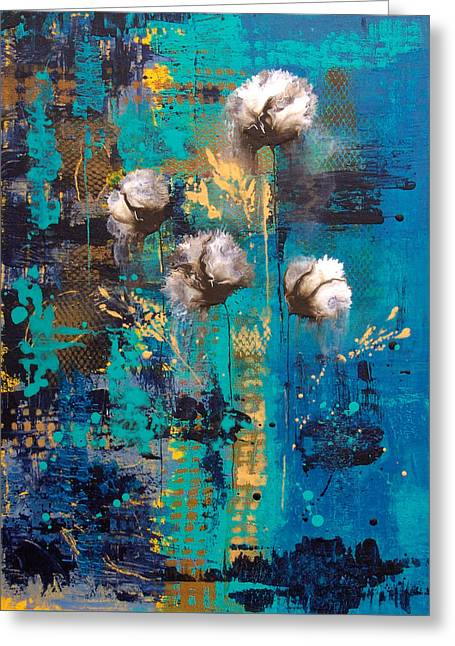 Catherine White Paintings Greeting Cards - Blue Rain Abstract Flower Greeting Card by Catherine Jeltes