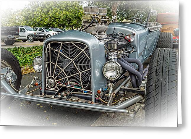 Street Machine Greeting Cards - Blue Rat Rod Greeting Card by Steve Benefiel