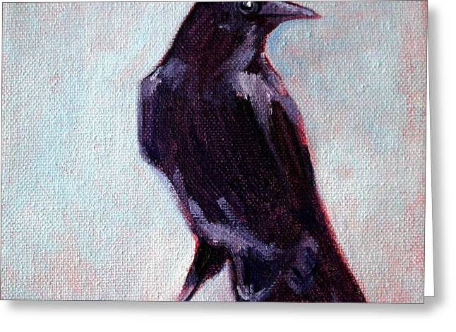 Ravens Greeting Cards - Blue Raven Greeting Card by Nancy Merkle