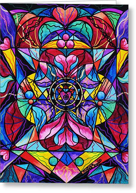 Spiritual Art Greeting Cards - Blue Ray Healing Greeting Card by Teal Eye  Print Store
