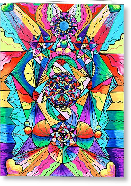 Healing Image Greeting Cards - Blue Ray Transcendence Grid Greeting Card by Teal Eye  Print Store
