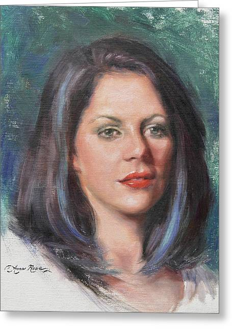Portrait Oil Greeting Cards - Blue Rebecca Greeting Card by Anna Bain