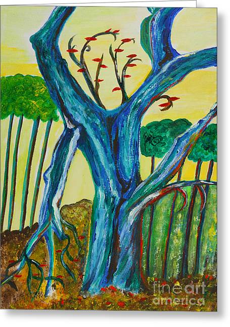 Veronica Rickard Greeting Cards - Blue Remembered Tree Greeting Card by Veronica Rickard