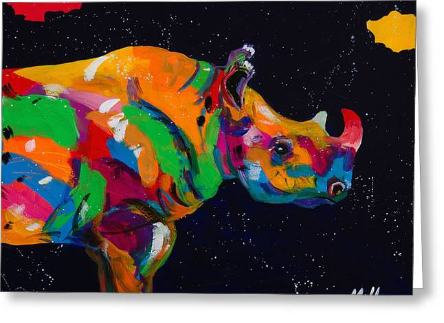 Serengeti Wildlife Greeting Cards - Blue Rhino Greeting Card by Tracy Miller
