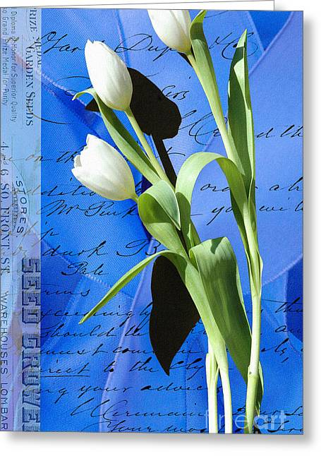 Love Letter Mixed Media Greeting Cards - Blue Ribbon Tulips Greeting Card by Anahi DeCanio