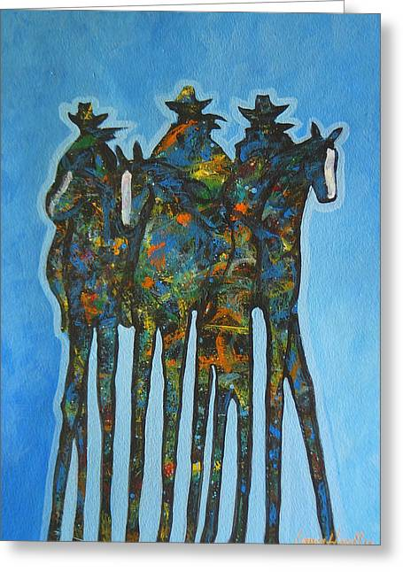 Carefree Cowboy Greeting Cards - Blue Riders Greeting Card by Lance Headlee