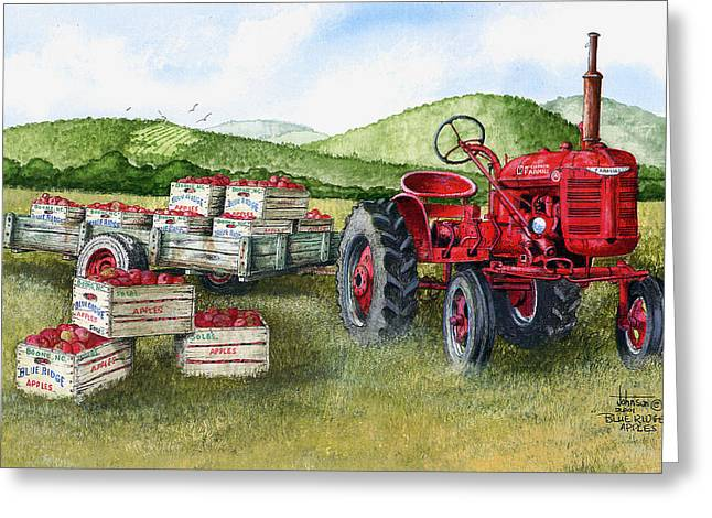 Apple Crates Greeting Cards - Blue Ridge Apple Greeting Card by Larry Johnson