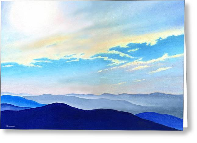 Twomey Digital Greeting Cards - Blue Ridge Blue Above Greeting Card by Catherine Twomey