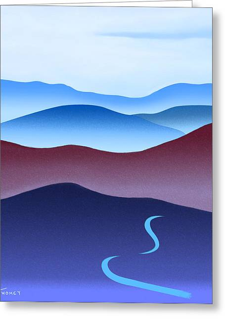 Catherine White Paintings Greeting Cards - Blue Ridge Blue Road Greeting Card by Catherine Twomey
