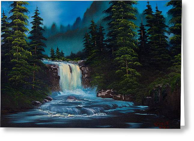 Mountain Falls Greeting Card by C Steele