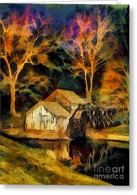 Virginia Artists Greeting Cards - Blue Ridge - Mabry Mill Painted at Night II Greeting Card by Dan Carmichael