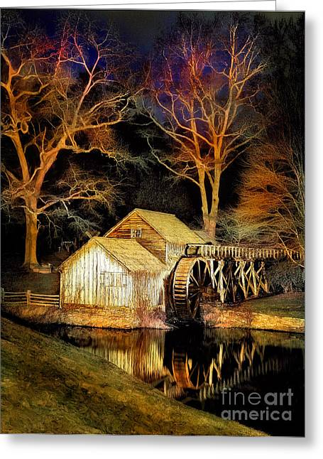 Virginia Artists Greeting Cards - Blue Ridge - Mabry Mill Painted at Night III Greeting Card by Dan Carmichael
