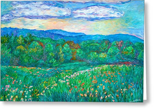 Impressionist Greeting Cards - Blue Ridge Meadow Greeting Card by Kendall Kessler